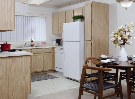 Kitchen with light cabinets at Lakeview at Superstition Springs Apartments in Mesa AZ