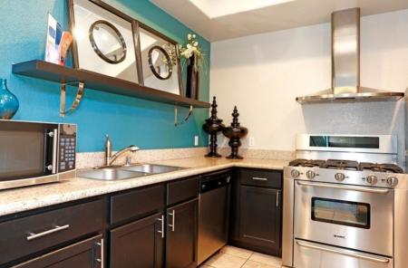 Kitchen in resident lounge at Somerfield at Lakeside Apartments in Elk Grove CA