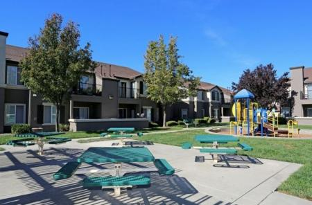 Picnic area at Somerfield at Lakeside Apartments in Elk Grove CA