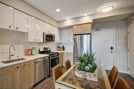 Geometric finish kitchen at L Seven Apartments in San Francisco CA