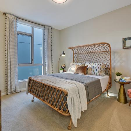 Guest bedroomsat L Seven Apartments in San Francisco CA