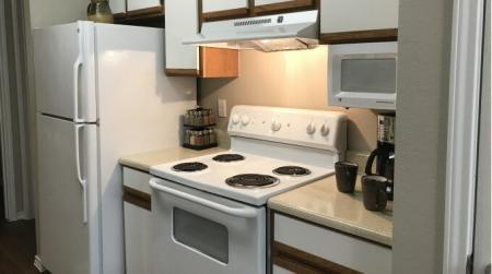 Kitchen at Brynwood Apartments in San Antonio, Texas.