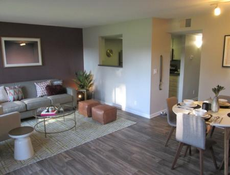 Living room and dining room at Sorelle Apartments in Moreno Valley CA