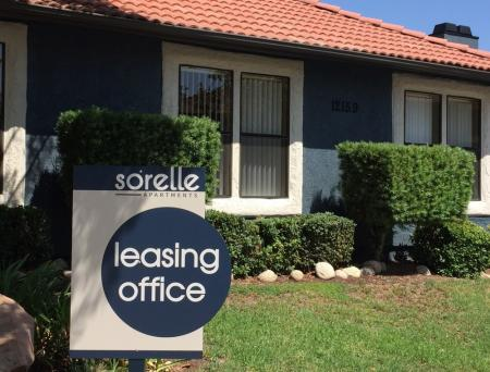 Leasing office exterior at Sorelle Apartments in Moreno Valley CA