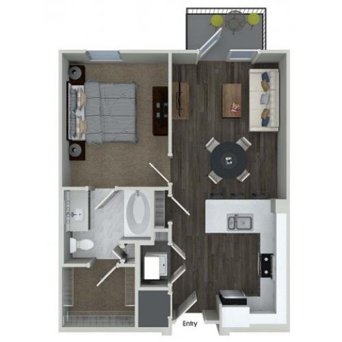 A1 1 bedroom 1 bathroom floorplan at Inwood Apartments in Dallas, TX