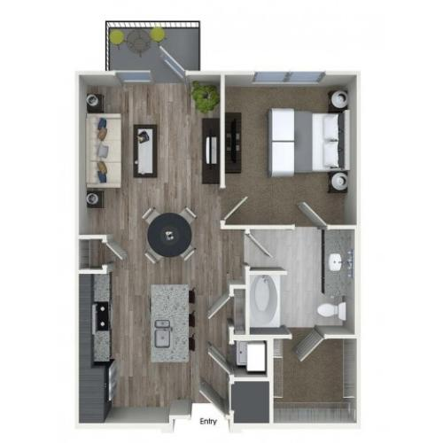 A3 1 bedroom 1 bathroom floorplan at A1 1 bedroom 1 bathroom floorplan at Inwood Apartments in Dallas, TX