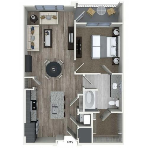 A4 1 bedroom 1 bathroom floorplan at A1 1 bedroom 1 bathroom floorplan at Inwood Apartments in Dallas, TX