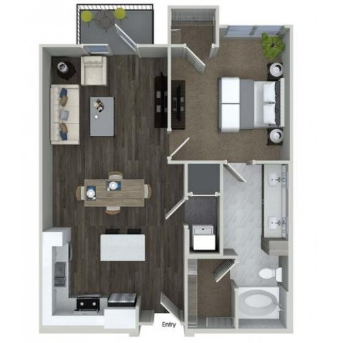 A6 1 bedroom 1 bathroom floorplan at A1 1 bedroom 1 bathroom floorplan at Inwood Apartments in Dallas, TX