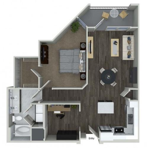 A8 1 bedroom 1 bathroom plus den floorplan at A1 1 bedroom 1 bathroom floorplan at Inwood Apartments in Dallas, TX