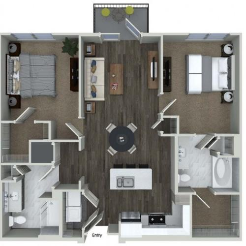 B1 2 bedroom 2 bathroom floorplan at A1 1 bedroom 1 bathroom floorplan at Inwood Apartments in Dallas, TX