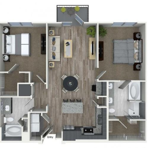 B2 2 bedroom 2 bathroom floorplan at A1 1 bedroom 1 bathroom floorplan at Inwood Apartments in Dallas, TX