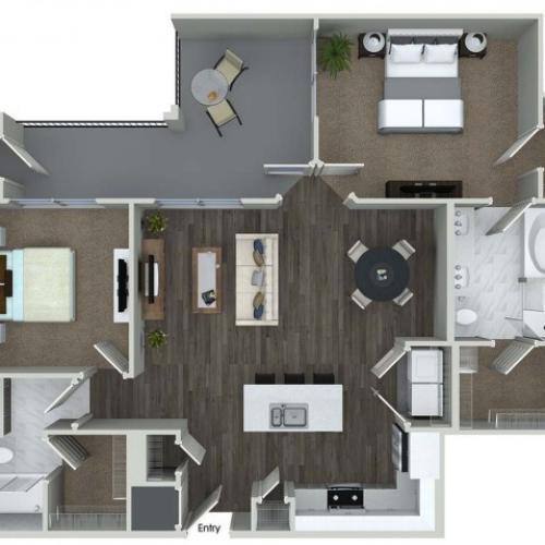 B3 2 bedroom 2 bathroom floorplan at A1 1 bedroom 1 bathroom floorplan at Inwood Apartments in Dallas, TX