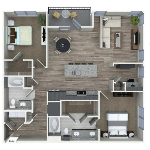 B8D 2 bedroom 2 bathroom plus den floorplan at A1 1 bedroom 1 bathroom floorplan at Inwood Apartments in Dallas, TX