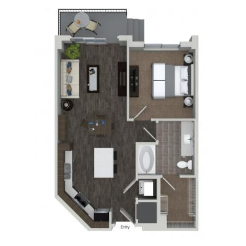 A1.1 1 bedroom 1 bathroom floorplan at ORA Flagler Village Apartments in Fort Lauderdale, FL