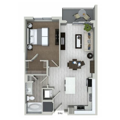 A1.2 1 bedroom 1 bathroom floorplan at ORA Flagler Village Apartments in Fort Lauderdale, FL