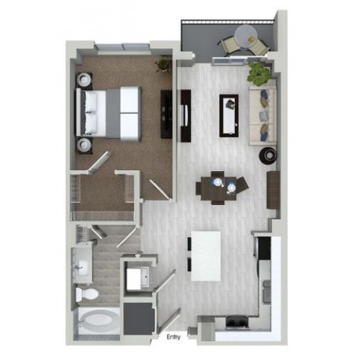 A1.3 1 bedroom 1 bathroom floorplan at ORA Flagler Village Apartments in Fort Lauderdale, FL
