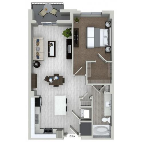 A1.4 1 bedroom 1 bathroom floorplan at ORA Flagler Village Apartments in Fort Lauderdale, FL