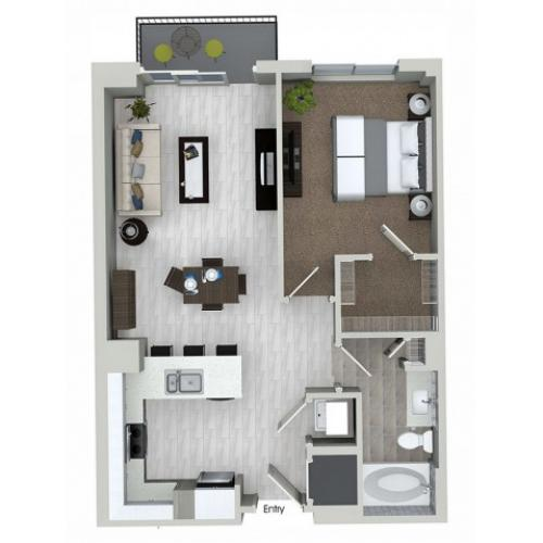 A1.5 1 bedroom 1 bathroom floorplan at ORA Flagler Village Apartments in Fort Lauderdale, FL