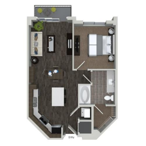 A1 1 bedroom 1 bathroom floorplan at ORA Flagler Village Apartments in Fort Lauderdale, FL