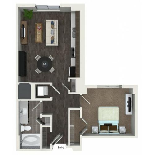 A2.1 1 bedroom 1 bathroom floorplan at ORA Flagler Village Apartments in Fort Lauderdale, FL