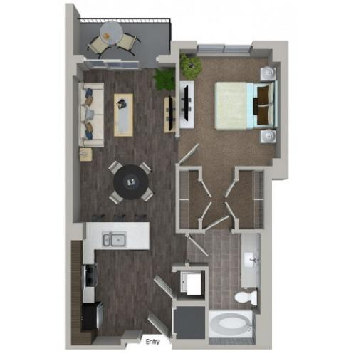 A2 1 bedroom 1 bathroom floorplan at ORA Flagler Village Apartments in Fort Lauderdale, FL