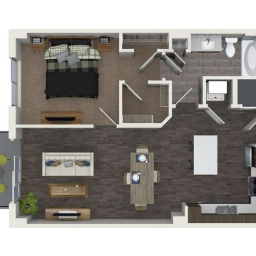 A4.1 1 bedroom 1 bathroom floorplan at ORA Flagler Village Apartments in Fort Lauderdale, FL