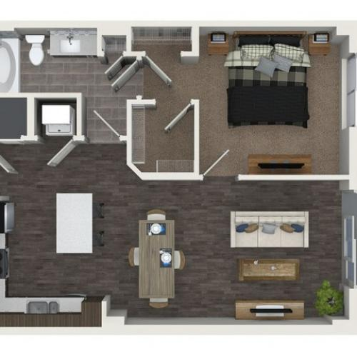 A4 1 bedroom 1 bathroom floorplan at ORA Flagler Village Apartments in Fort Lauderdale, FL