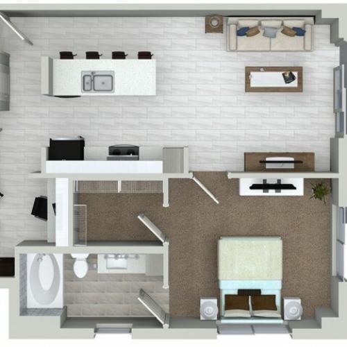 A5D 1 bedroom 1 bathroom plus den floorplan at ORA Flagler Village Apartments in Fort Lauderdale, FL