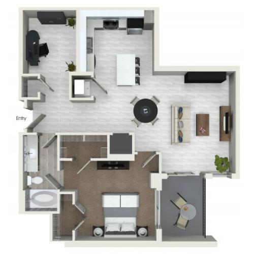 A6D 1 bedroom 1 bathroom plus den floorplan at ORA Flagler Village Apartments in Fort Lauderdale, FL