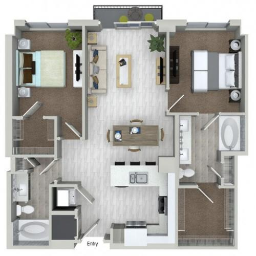 B1 2 bedroom 2 bathroom floorplan at ORA Flagler Village Apartments in Fort Lauderdale, FL