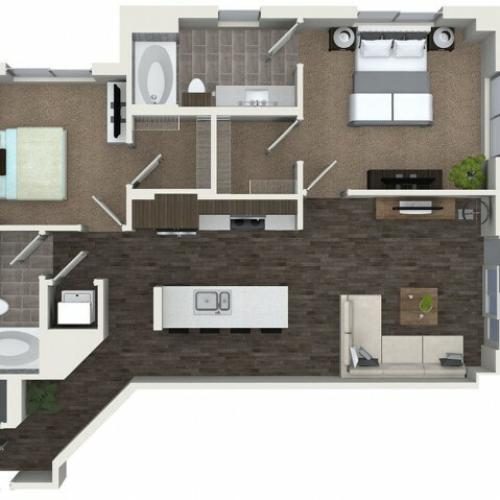 B2 2 bedroom 2 bathroom floorplan at ORA Flagler Village Apartments in Fort Lauderdale, FL