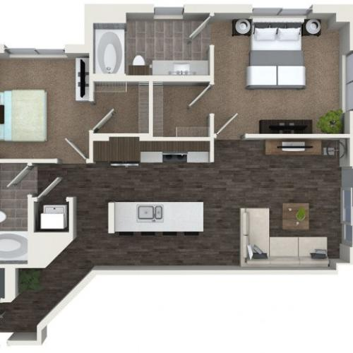 B2 2 bedroom 2 bathroom floorplan at ORA Flagler Village Apartments in Fort Lauderdale, FL