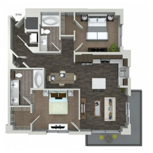 B3 2 bedroom 2 bathroom floorplan at ORA Flagler Village Apartments in Fort Lauderdale, FL