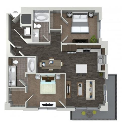 B3 2 bedroom 2 bathroom floorplan at ORA Flagler Village Apartments in Fort Lauderdale, FL