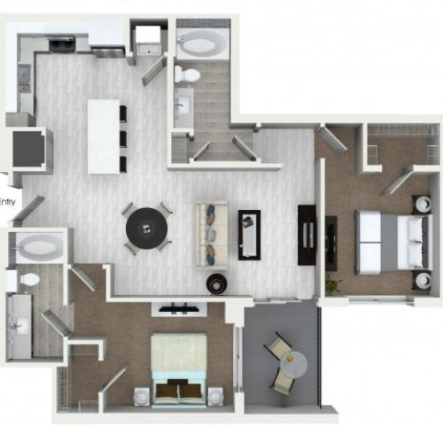 B4 2 bedroom 2 bathroom floorplan at ORA Flagler Village Apartments in Fort Lauderdale, FL