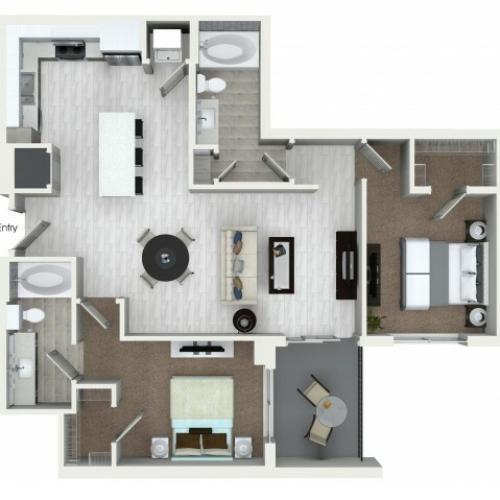 B4 2 bedroom 2 bathroom floorplan at ORA Flagler Village Apartments in Fort Lauderdale, FL