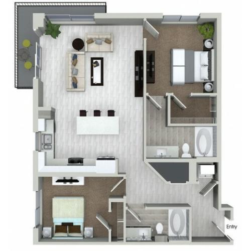 B5 2 bedroom 2 bathroom floorplan at ORA Flagler Village Apartments in Fort Lauderdale, FL