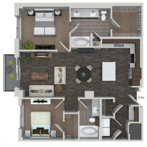 B6 2 bedroom 2 bathroom floorplan at ORA Flagler Village Apartments in Fort Lauderdale, FL