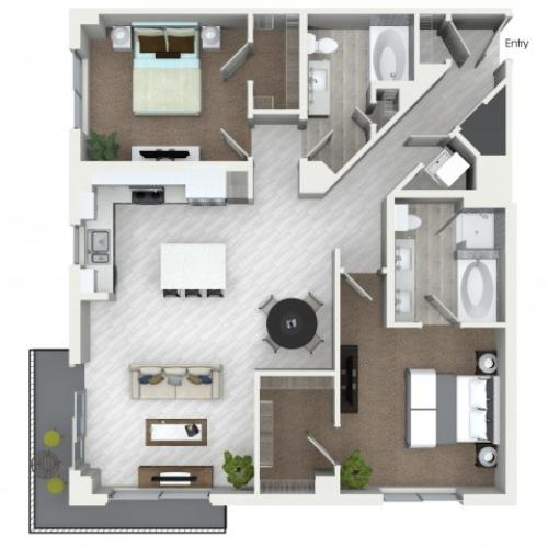 B7 2 bedroom 2 bathroom floorplan at ORA Flagler Village Apartments in Fort Lauderdale, FL