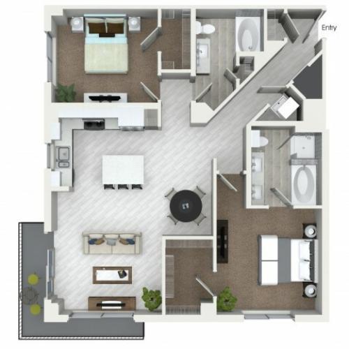 B7 2 bedroom 2 bathroom floorplan at ORA Flagler Village Apartments in Fort Lauderdale, FL