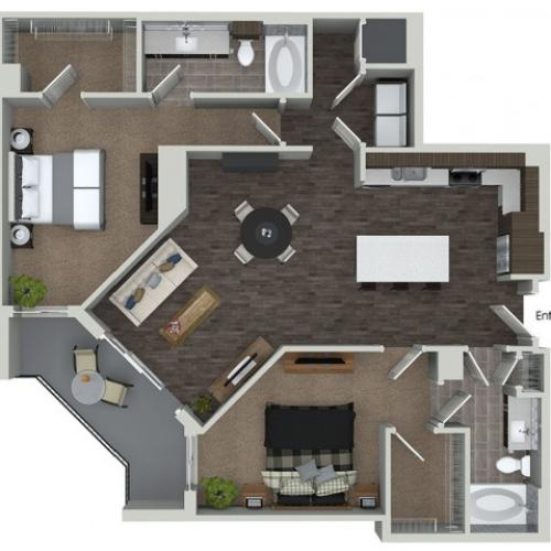 B8 2 bedroom 2 bathroom floorplan at ORA Flagler Village Apartments in Fort Lauderdale, FL