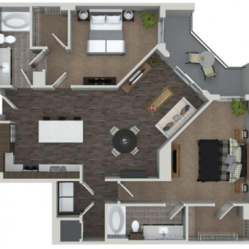 B8.1 2 bedroom 2 bathroom floorplan at ORA Flagler Village Apartments in Fort Lauderdale, FL