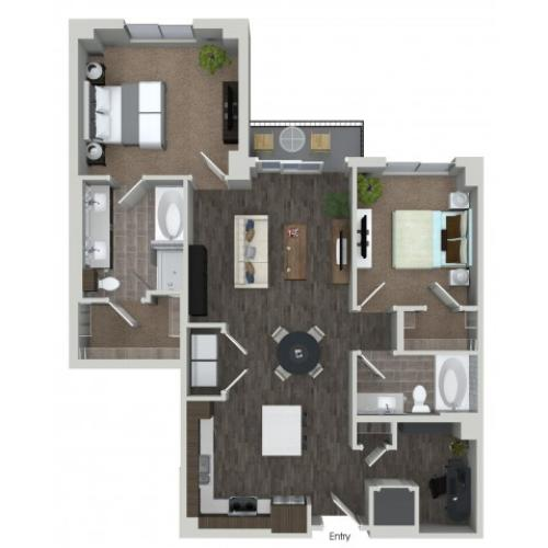 B9D 2 bedroom 2 bathroom plus den floorplan at ORA Flagler Village Apartments in Fort Lauderdale, FL