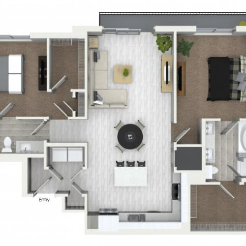 B10 2 bedroom 2 bathroom floorplan at ORA Flagler Village Apartments in Fort Lauderdale, FL