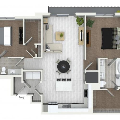 B10 2 bedroom 2 bathroom floorplan at ORA Flagler Village Apartments in Fort Lauderdale, FL