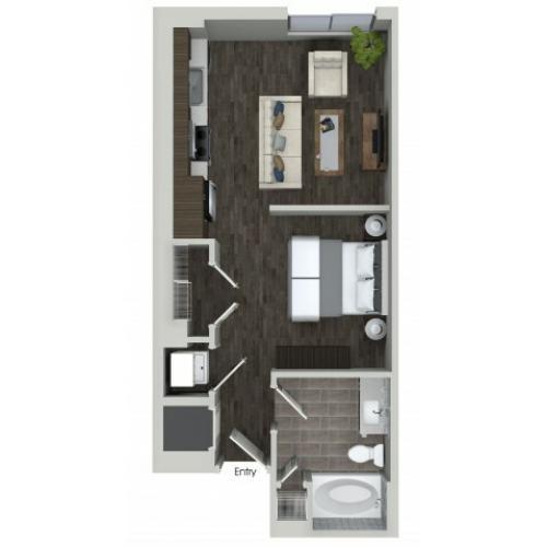 S1 0 bedroom 1 bathroom floorplan at ORA Flagler Village Apartments in Fort Lauderdale, FL