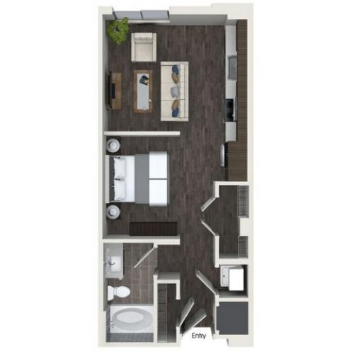S2 0 bedroom 1 bathroom floorplan at ORA Flagler Village Apartments in Fort Lauderdale, FL
