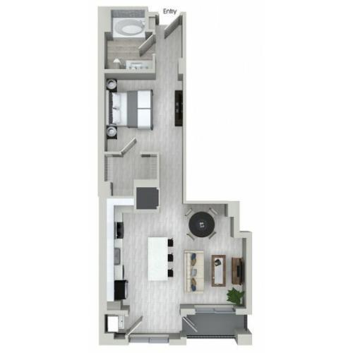 S3 0 bedroom 1 bathroom floorplan at ORA Flagler Village Apartments in Fort Lauderdale, FL