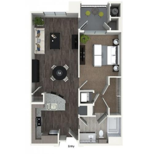A2 1 bedroom 1 bathroom floorplan at 808 West Apartments in San Jose, CA