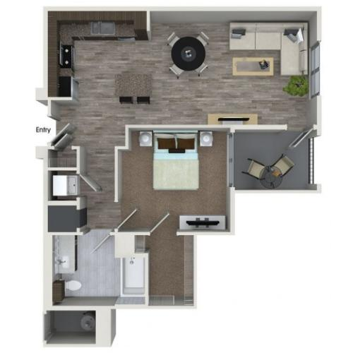 A3 1 bedroom 1 bathroom floorplan at 808 West Apartments in San Jose, CA